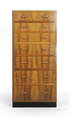Tall Art Deco Walnut Chest of Drawers