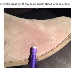 20 Useful Solutions for Everyday Clothes ProblemsCare for your suede shoes by using an eraser. It will remove any scuffs or dirt marks that appear on your shoes. Patent Shoes, Suede Shoes, Cold Weather Gear, Pencil Eraser, Tips & Tricks, Simple Life Hacks, Clean Up, Cleaning Hacks, Cleaning Recipes