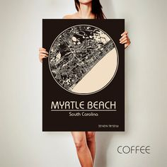 MYRTLE BEACH South Carolina CANVAS Map Myrtle Beach By ArchTravel