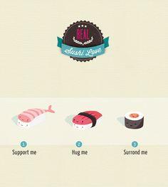 Sushi Love ! | annalisabernabovi | Illustrator & graphic designer.  Tags: digital, illustration, texture, sushi, badge, funny
