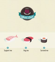 Sushi Love ! | annalisabernabovi | Illustrator & graphic designer.  Tags: digital, illustration, texture, sushi, badge, funny