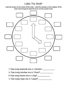This is a quick and easy assessment. Students label the minutes, hours, hour hand, and minute hand. Questions at the bottom ask1. How many seconds are in 1 minute? ___________2. How many minutes are in 1 hour? ___________3. How many hours are in 1 day? ___________4.