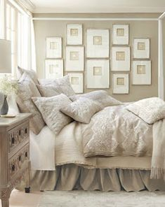 Interior Design Layer bedding and simple frames, not much of an investment for a beautiful result. Beige and White Neutral Bedroom Decor Dream Bedroom, Home Bedroom, Bedroom Ideas, Bedroom Designs, Bedroom Inspo, Cottage Bedrooms, Pink Bedrooms, Small Bedrooms, Master Bedrooms