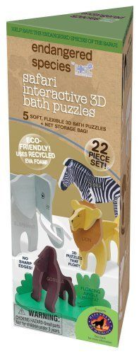 Endangered Species by Sud Smart 3D Bath Puzzles, Safari by Endangered Species by Sud Smart. $4.99. Floating animal bath puzzles made from recycled EVA Foam in recycled cardboard packaging. 5 soft, flexible 3D bath puzzles and net storage bag.