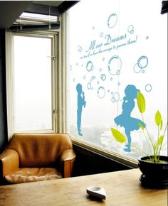 Children Wall Decals with Boy and Girl Blowing Bubbles