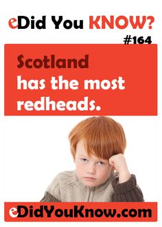 Scotland has the most redheads. http://edidyouknow.com/did-you-know-164/