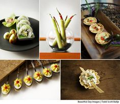 Yummy bites - Hosomaki sushi rolls, chilled avocado and jalepeno shooters, caramelized vidallia onion tartlets, tuffled deviled quail eggs, and white chicken and pablano pepper cups.  Photography by Beautiful Day Images.