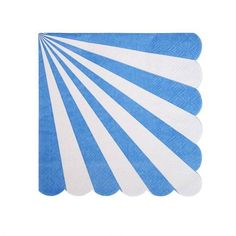 A bright and colourful small party napkin with a blue radial stripe pattern and scollop edge.
