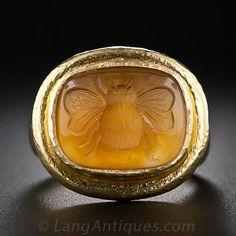 Citrine Intaglio Bee Ring by Elizabeth Locke - 30-1-5112 - Lang Antiques