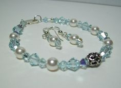 Sparkly Blue Wedding Bracelet and Earrings. Swarovski Crystals and Pearls. Sterling Silver. by VickieJoesJewels