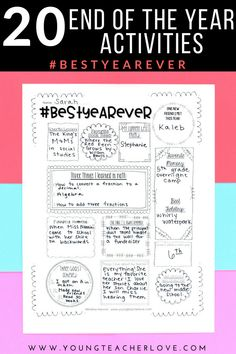 End of the Year Activities: 20 Ways to End Your Year Right! - Young Teacher Love by Kristine Nannini 5th Grade Activities, End Of Year Activities, Writing Activities, Teaching Resources, Teaching Ideas, Writing Skills, Fun Activities, 3rd Grade Classroom, School Classroom