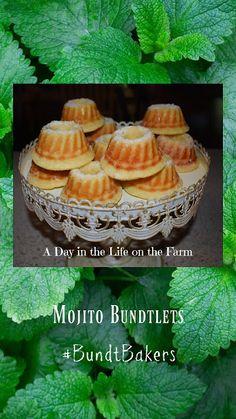 A Day in the Life on the Farm: Mojito Bundtlets #BundtBakers Cream And Sugar, Sour Cream, Mint Desserts, Simple Syrup, Mojito, Cops, Farm Life, Mini Cupcakes