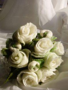 Bridal Wedding Felted Rose Flowers Unique Bouquet by Evgene