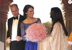 Le prince William et Kate Middleton, duchesse de Cambridge (en robe Jenny Packham), le 10 avril 2016 au Taj Palace Hotel à Mumbai au premier soir de leur visite officielle en Inde, lors d'un gala organisé par la British Asian Foundation.