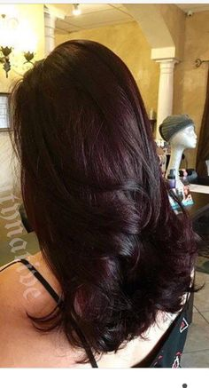 Chocolate cherry color We may not be able to head to parlors right now, still Cherry Brown Hair, Cherry Hair Colors, Chocolate Cherry Hair Color, Black Cherry Hair Color, Chocolate Chocolate, Plum Hair, Burgundy Hair, Pelo Color Vino, Red Hair Inspo