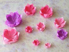 Varias flores de loto en papel en diferentes tonos de rosado