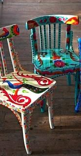 Kitchen chairs? Just buy some cheap ones that don't even match and paint them