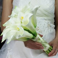 Noble Pure 16 Calla Lily White Color Bridal Bouquet High Quality Wedding Bouquet Real Touch Artificial Flower Free Shipping on AliExpress.com. $59.00