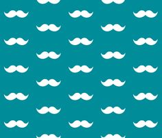 teal mustaches fabric by tupelo_honey_fabrics on Spoonflower - custom fabric @pjmesser please make me a quilt with this!!! and click on the spoon flower link, there's mint and coral and grey!! gorgeous!