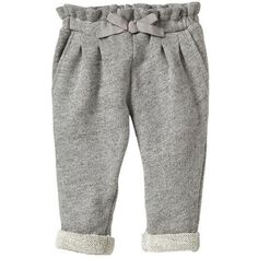 Gap Marled Ruffle Pants - grey marl ($17) ❤ liked on Polyvore featuring baby, baby girl clothes, baby clothing and kids