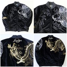 Vintage Black Wave Koi Carp Fish Dragon Sakura Japan Velveteen Sukajan Souvenir Jacket - Japan Lover Me Store