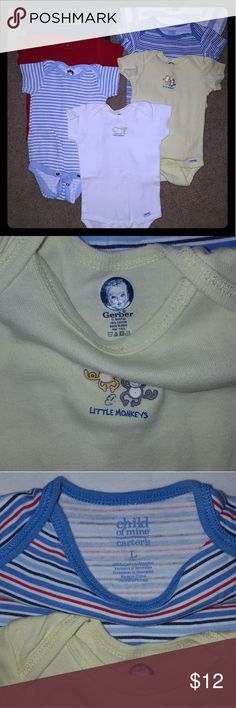12M boy onesie bundle!! 7 onesies!! All in perfect condition, with no sign of wear or tear. Brands are Gerber and Child of Mine (Carter's). Comes from a smoke and pet free home. Carter's One Pieces Bodysuits