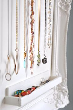 50+ Best Storage Ideas and Projects for Small Spaces in 2021 Jewelry Organizer Wall, Wall Organization, Jewellery Storage, Jewellery Display, Jewelry Organization, Diy Jewelry, Jewelry Design, Jewelry Box, Jewelry Making