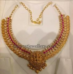 Jewellery Designs: Kasu Necklace with Rubies