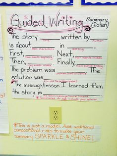 Guided Writing for Summaries (Fiction) Anchor Chart - good model for summarizing fiction, students can plug in their responses and go above and beyond! could work en Français Writing Lessons, Teaching Writing, Writing Skills, Writing Activities, Writing Ideas, Summarizing Activities, Writing Strategies, Summary Writing, Narrative Writing