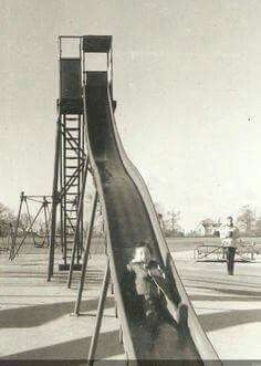 My elementary school still had a slide exactly like this in the late 1970s Childhood, My Childhood Memories, Childhood Toys, Great Memories, School Memories, Retro Images, Vintage Pictures, Ol Days, Old Tv