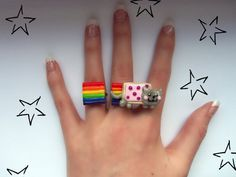 Nyan Cat Ring Set by ~beautboutique on deviantART Fimo Ring, Polymer Clay Ring, Fimo Clay, Diy Clay Rings, Biscuit, Nyan Cat, Mini Canvas Art, Cat Ring, Clay Creations