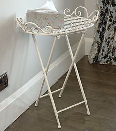 Superb Metal Butlers Tray Stand Table French Chic Freestanding Garden Home Gift  Shabby