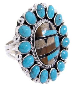 Southwest Sterling Silver And Turquoise Multicolor Inlay Ring Size 9 AW68978 http://www.silvertribe.com