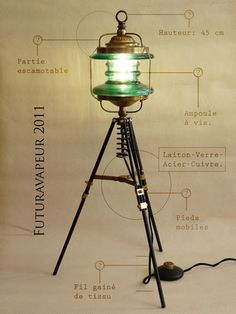 Steampunk Lamp from upcycled items! I see tripods at the TS all the time and you could top them with almost any lamp Lampe Steampunk, Steampunk House, Steampunk Design, Industrial Light Fixtures, Industrial Lighting, Lamp Design, Lighting Design, Diy Floor Lamp, Light Project