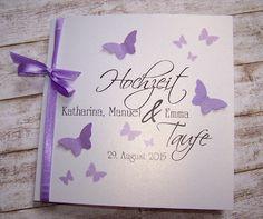 Einladung Hochzeit & Taufe Flieder Schmetterlingsschwarm
