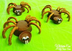 Halloween Reese's Spider Cups from KitchenFunWithMy3Sons.com