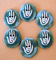 6 Handmade Ceramic Buttons - Hamsa Buttons - Denim Blue Stoneware Buttons