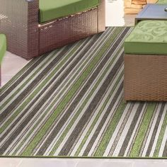 Charlton Home Watson Green/Brown Indoor/Outdoor Area Rug Rug Size: Runner x