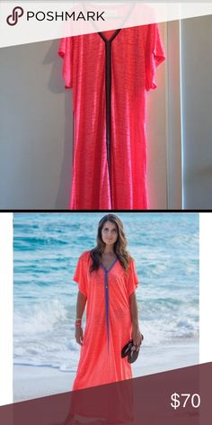 Pitusa abaya maxi dress. Coral color. Never been worn. Cover up. New without tags ! Pristine condition pitusa Swim Coverups
