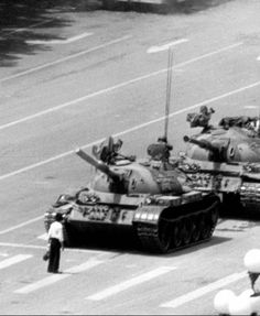 "The ""Tank man"" during the Tiananmen protests in China (1989)."