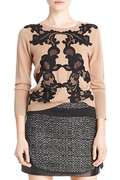 DVF | Lace detail adds interest to the Shara sweater.   http://on.dvf.com/1ap4HbS