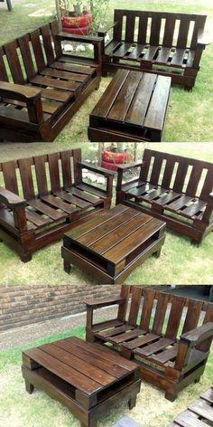 Diy Projects Outdoor Furniture, Pallet Garden Furniture, Diy Pallet Projects, Pallet Ideas, Diy Furniture, Garden Pallet, Furniture Repair, Rustic Furniture, Luxury Furniture