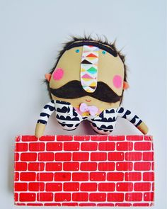 Mustache // Ready to Ship // One-of-a-kind // Wonderful Gift Mr Mustache, Pink Cheeks, Dapper Men, Cool Patterns, I Love Him, Felt, Shapes, Unique, Handmade