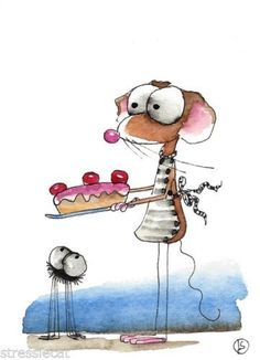 ACEO Original watercolor Folk Art Whimsical Mouse spider baked you a cake Watercolor Animals, Watercolor Cards, Watercolor Paintings, Cute Illustration, Watercolor Illustration, Cute Images, Whimsical Art, Caricatures, Cat Art