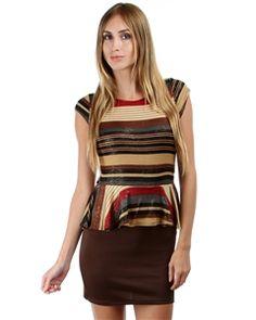 beige mutli stripe knit peplum dress with fitted bottom skirt