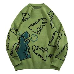 Aelfric Eden Vintage Dinosaur Cartoon Pattern Knitted Sweater – Aelfric eden Cute Casual Outfits, Pretty Outfits, Jugend Mode Outfits, Top Streetwear Brands, Mode Style, Look Cool, Online Shopping Clothes, Aesthetic Clothes, Ideias Fashion