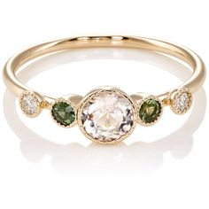 Jennie Kwon Women's Dew Ring ($790) ❤ liked on Polyvore featuring jewelry, rings, green, beaded jewelry, green ring, beaded rings, bezel ring and polish jewelry