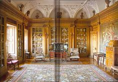 Library of Althea Dundas-Bekker Scottish country house with carving and stuccowork by Josef Enzer. Image from The Scottish Country House by James Knox.