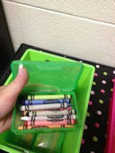 Use soap containers for crayons- might have to do this since I can't find the gladware containers this year...
