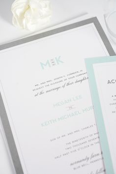 Contemporary wedding invitations in mint and gray | http://www.shineweddinginvitations.com/blog/modern-mint-wedding-invitations/?preview=true